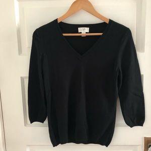 LOFT black pima cotton v-neck sweater 3/4 sleeve